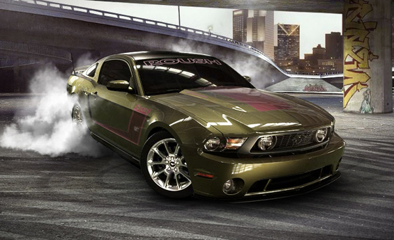 Scary color, lots of smoke and really a brutal one: Our Mustang 2010 is redy to be build (Image: Ford)