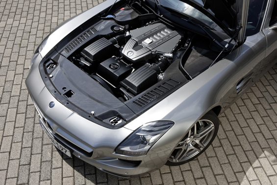 Mercedes-Benz SLS AMG: AMG 6.3-litre, front-mid V8 engine with a maximum output of 420 kW/571 hp, 650 Nm of torque. (Image: Daimler)