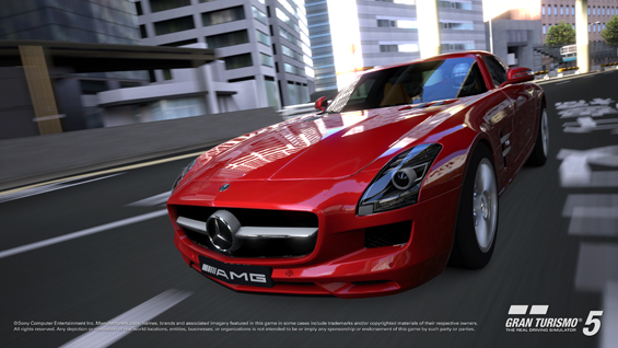The Mercedes-Benz SLS AMG featured in the new video game Gran Turismo5 for PlayStation3 (Image: Daimler)