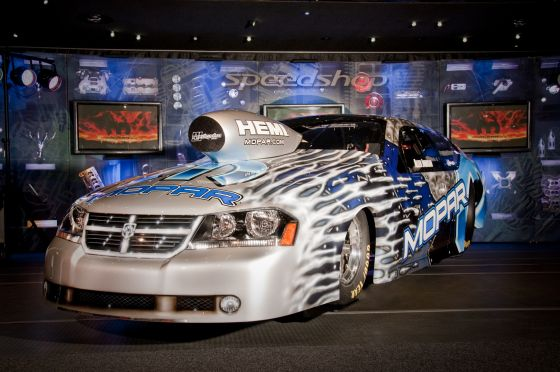 The 2010 NHRA Pro Stock Mopar Dodge Avenger of Team Mopar driver Allen Johnson, on exhibit in the Mopar display at the 2009 Specialty Equipment Market Association (SEMA) Show in Las Vegas, Nov. 3-6. (Image: Chrysler)