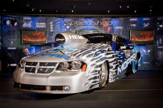 The 2010 NHRA Pro Stock Mopar Dodge Avenger of Team Mopar driver Allen Johnson, on exhibit in the Mopar display at the 2009 Specialty Equipment Market Association (SEMA) Show in Las Vegas, Nov. 3-6. (Image: Chrysler)