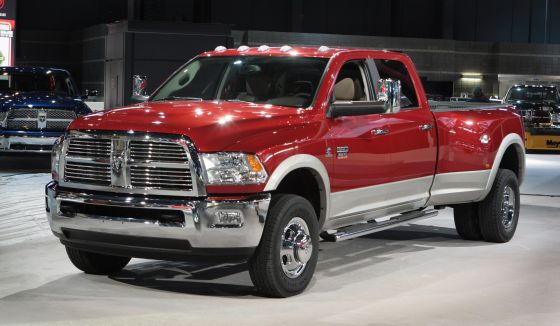 Chrysler LLC unveiled the new 2010 Ram 3500 Laramie Heavy Duty Crew Cab 4x4 Dually at the 2009 Chicago Auto Show. Crew Cab currently accounts for 50 percent of the Heavy-Duty market. This is Dodge's first entry into this segment. (Image: Dodge)